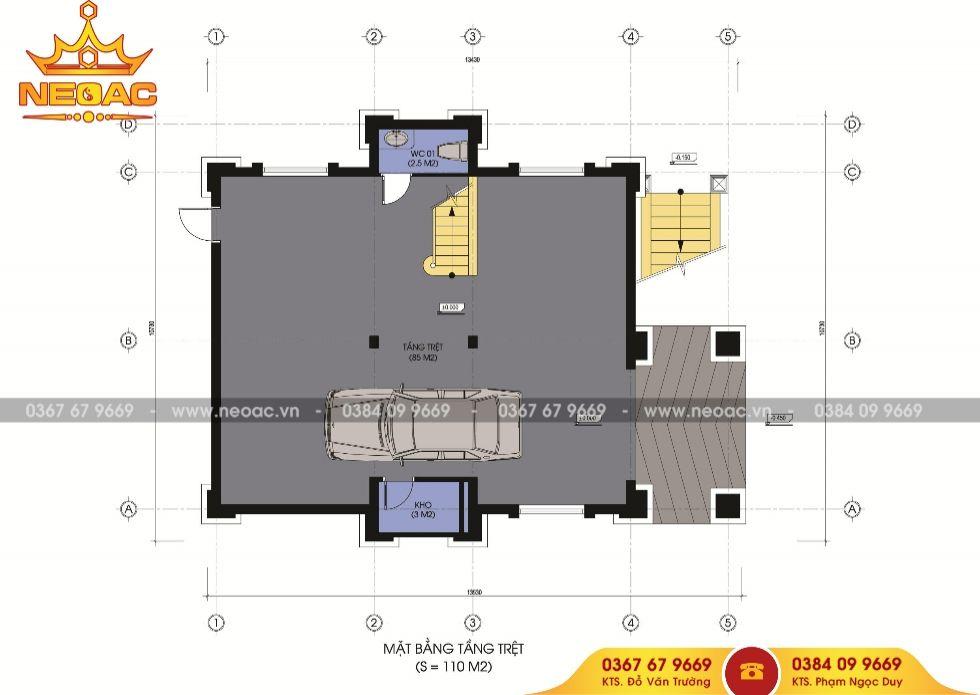Mẫu biệt thự 4 tầng mái thái