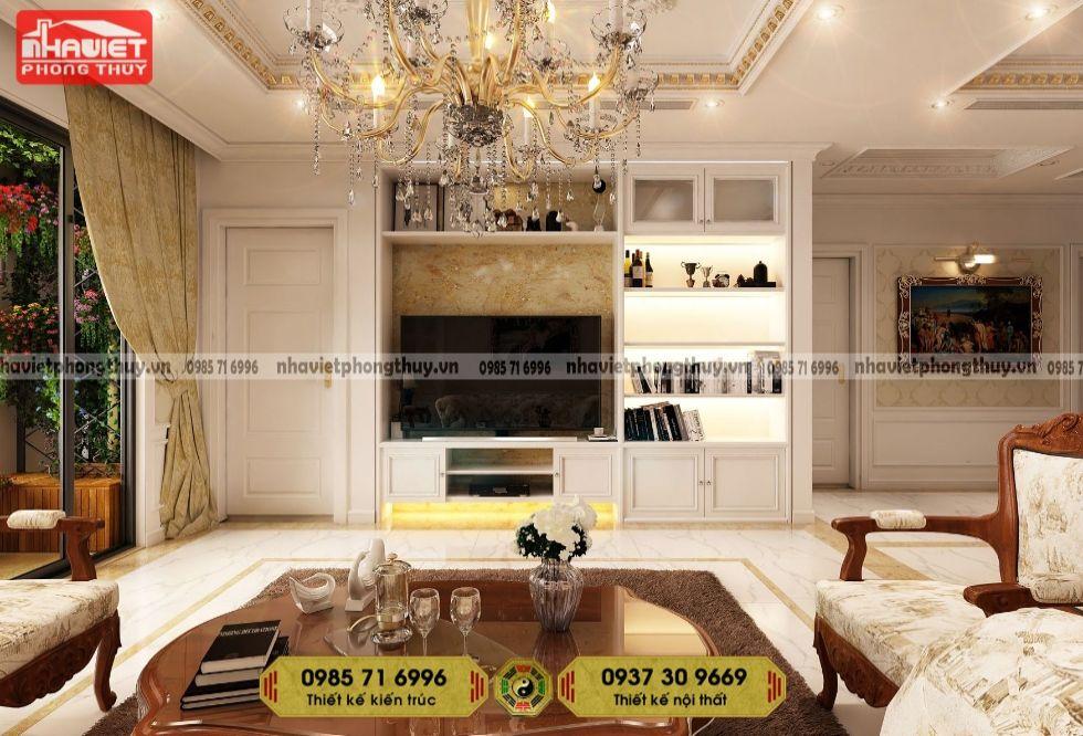 Mẫu thiết kế nội thất chung cư tân cổ điển 80m2 2 phòng ngủ