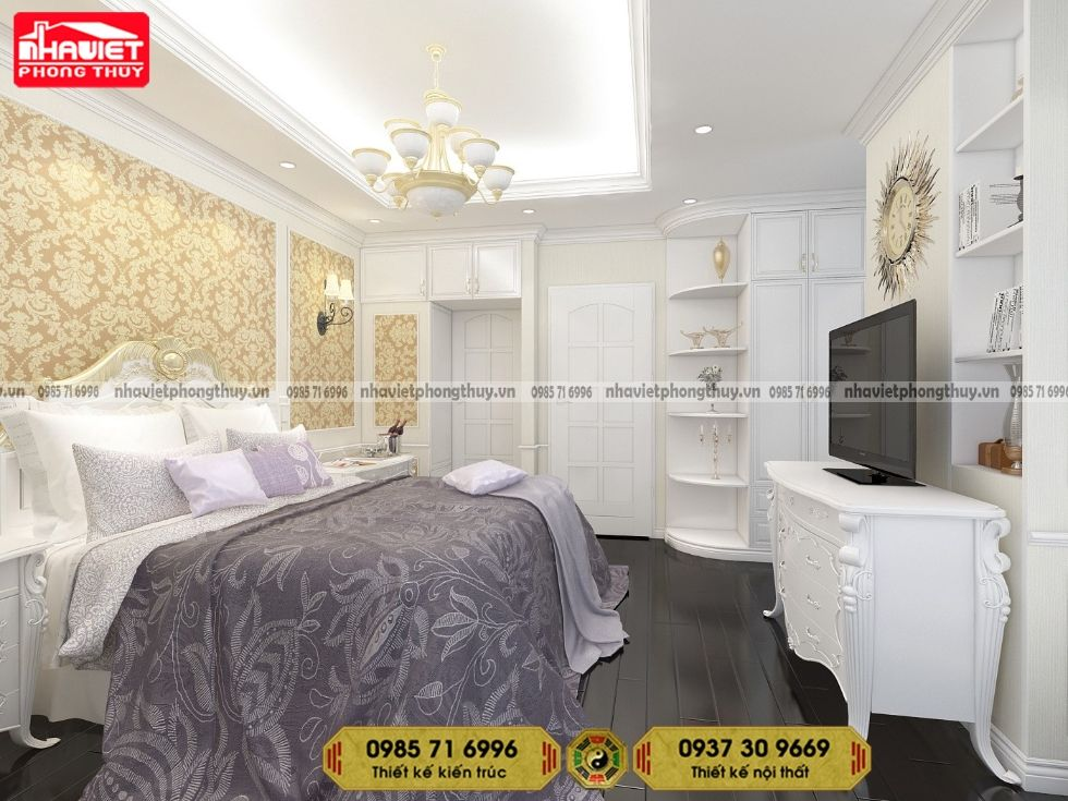 Mẫu thiết kế nội thất chung cư tân cổ điển 90m2 2 phòng ngủ