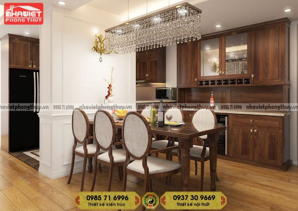 Mẫu thiết kế nội thất phòng bếp chung cư tân cổ điển