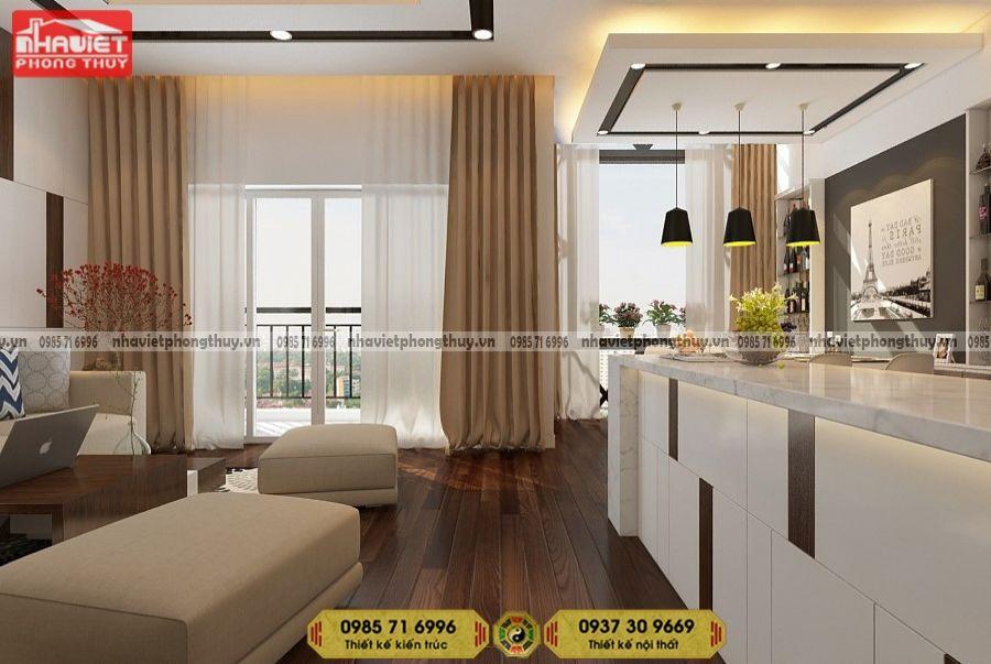 Công ty thiết kế nội thất chung cư hiện đại 2 phòng ngủ 75m2