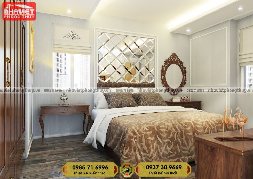 Dịch vụ thiết kế nội thất chung cư tân cổ 2 phòng ngủ 90m2