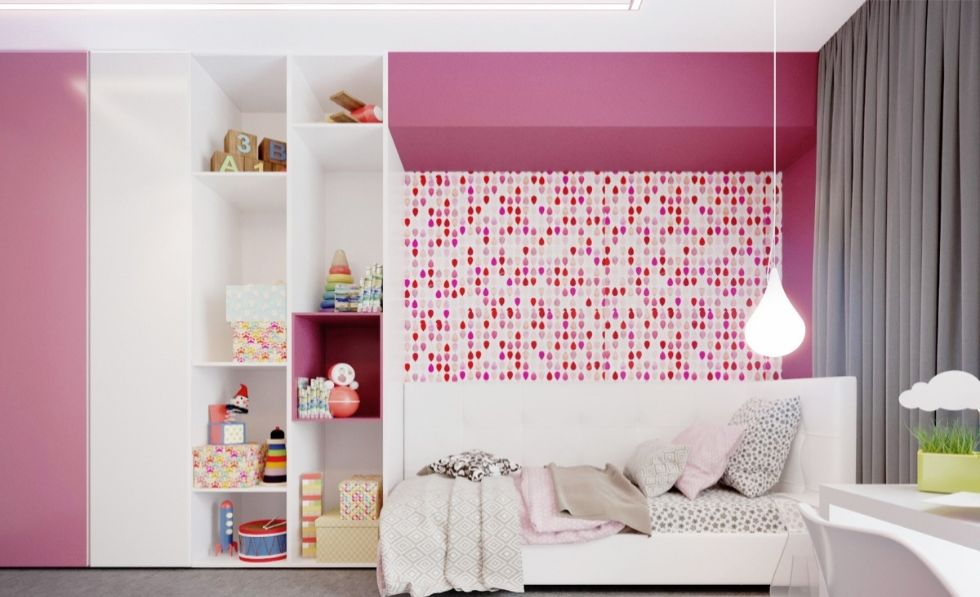 Cách phối màu hồng cho phòng ngủ bé gái