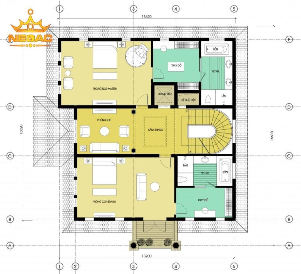 Giới thiệu mẫu biệt thự mái thái tân cổ 175m2 mất 1 năm hoàn thiện