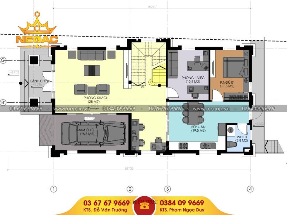Giới thiệu mẫu biệt thự 3 tầng 160m2 mái thái đôi, phào chỉ sạch sẽ