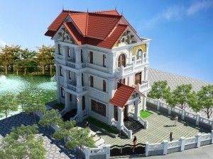 Giới thiệu mẫu biệt thự 4 tầng mái thái đẹp trọn 3 mặt tiền