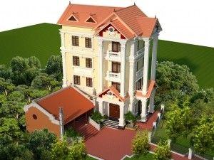 Giới thiệu mẫu biệt thự tân cổ mái thái 4 tầng liền kề nhà thờ họ