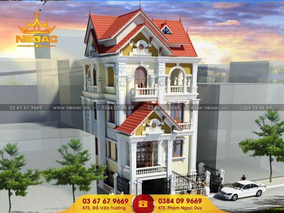 Giới thiệu mẫu biệt thự mái thái 5 tầng tân cổ điển 120m2