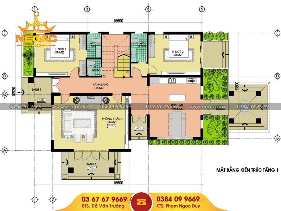 Giới thiệu mẫu biệt thự mái thái 2 tầng hiện đại 220m2