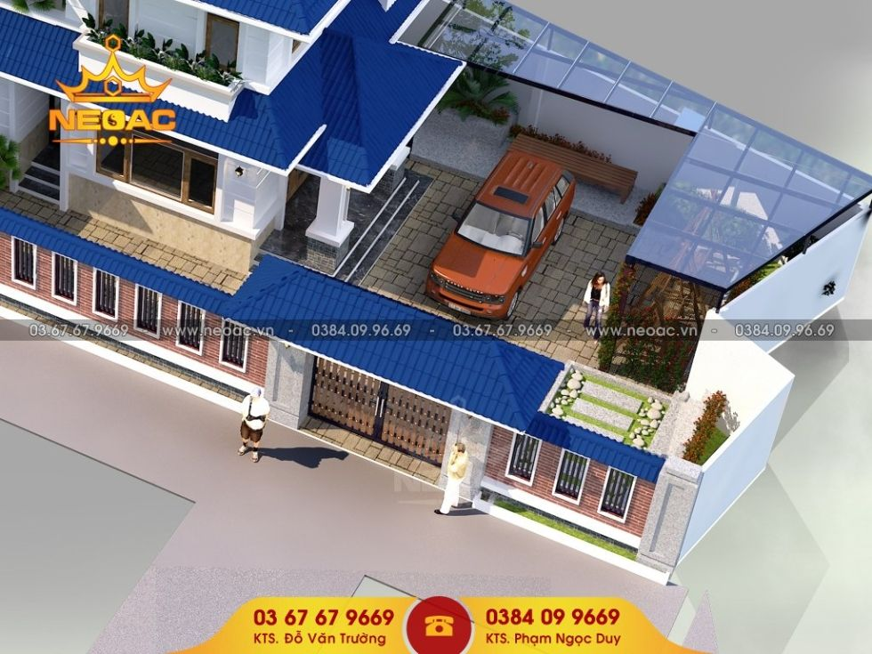 Giới thiệu mẫu biệt thự mái thái 2 tầng hiện đại 172m2