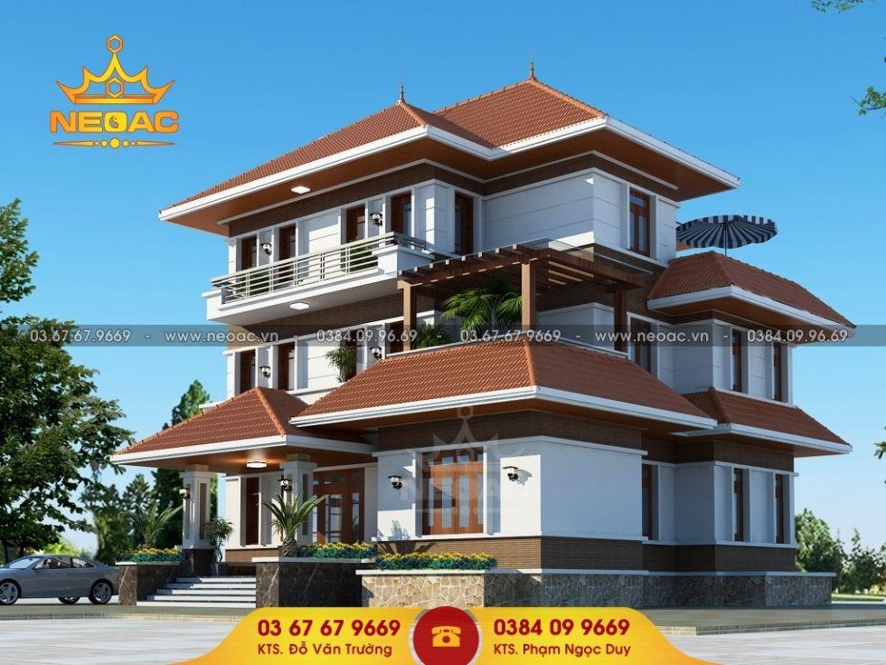 Giới thiệu mẫu biệt thự mái thái 3 tầng hiện đại 190m2