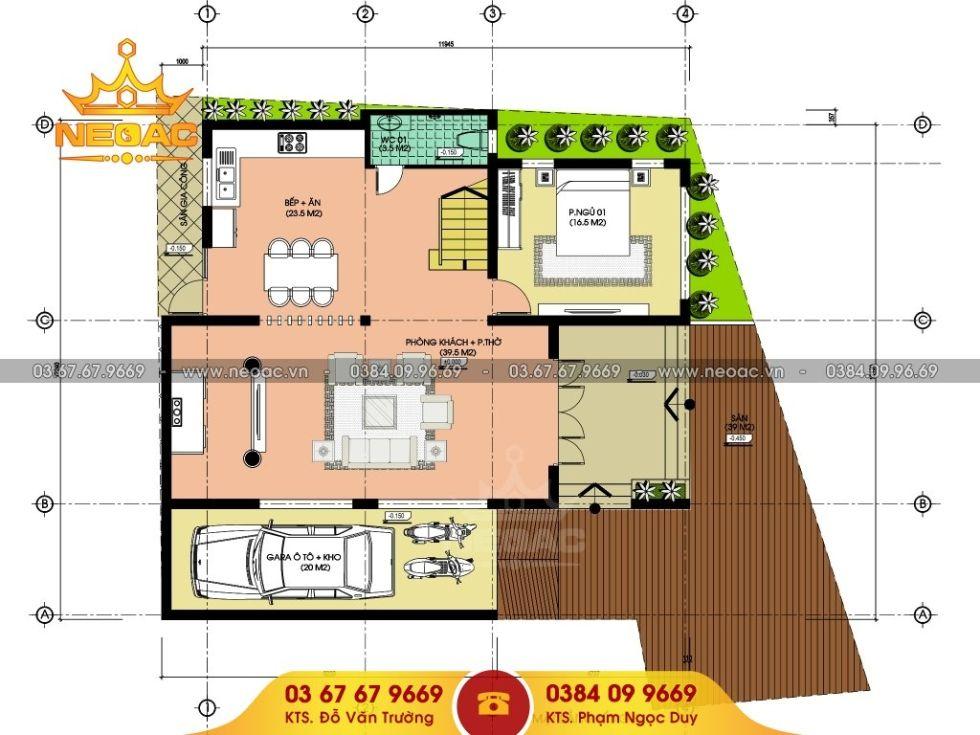 Giới thiệu mẫu biệt thự mái thái 3 tầng hiện đại 145m2