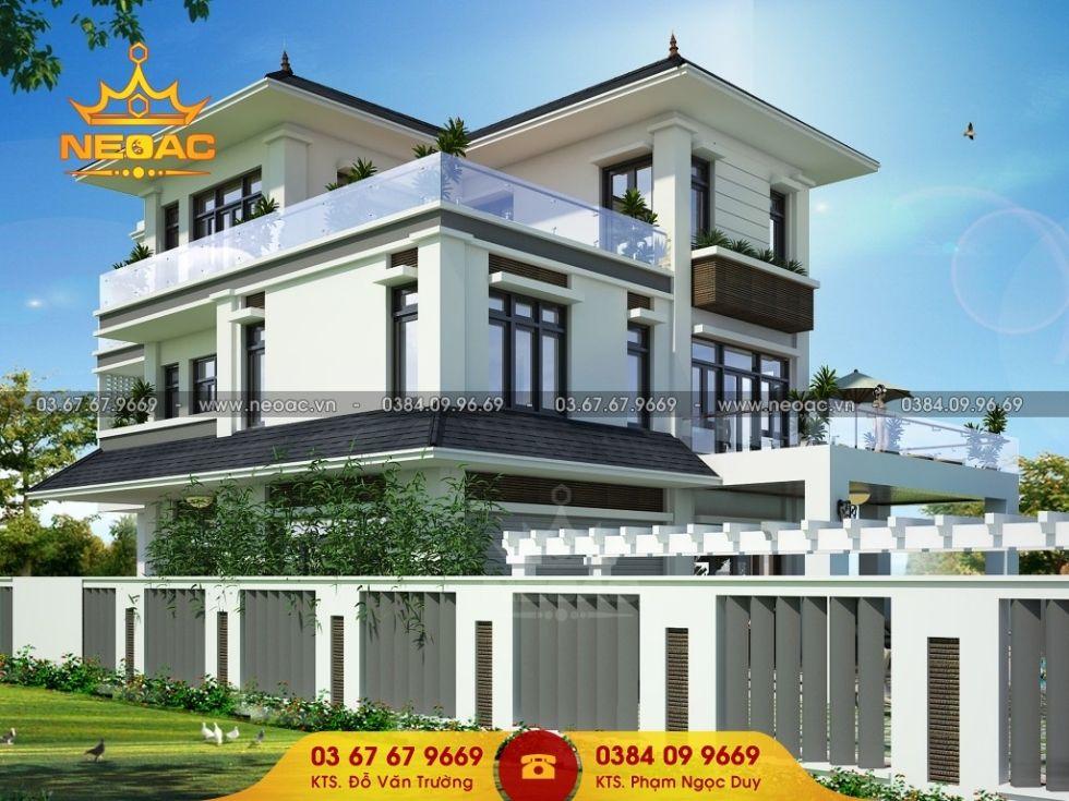 Giới thiệu mẫu biệt thự mái thái 3 tầng hiện đại 170m2