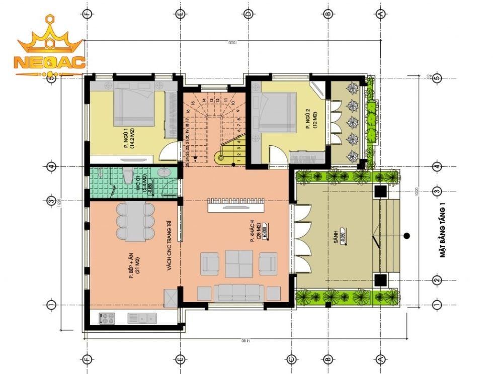 Biệt thự vườn 2 tầng mái thái hiện đại khỏe khoắn có mặt tiền 10m