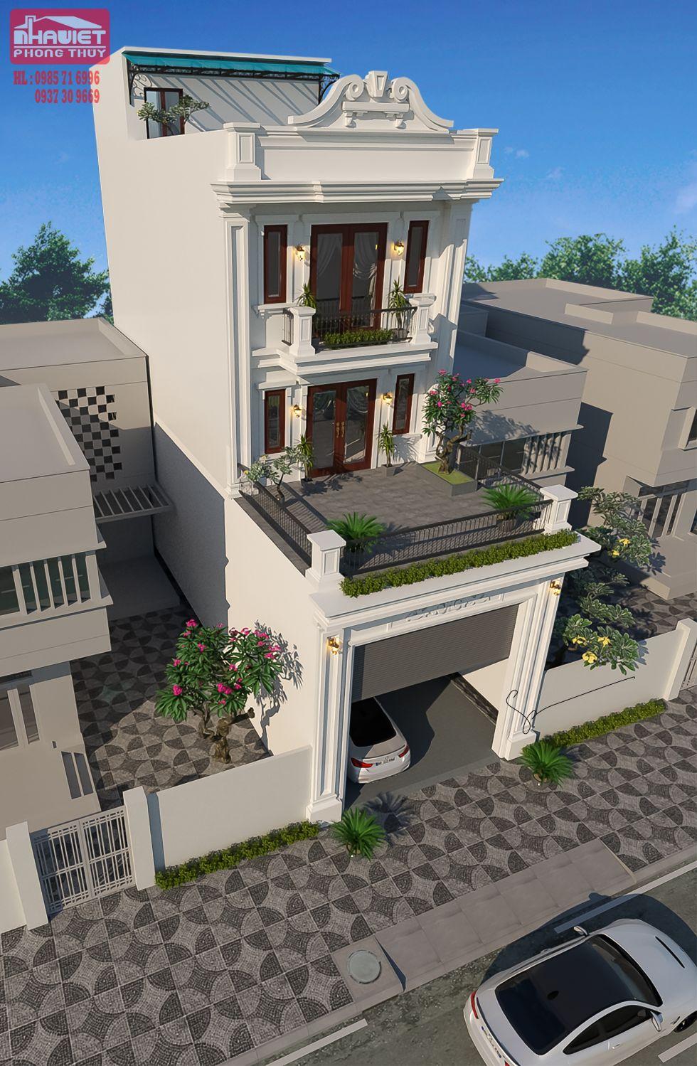 Thiết kế nhà phố tân cổ nhẹ nhàng.