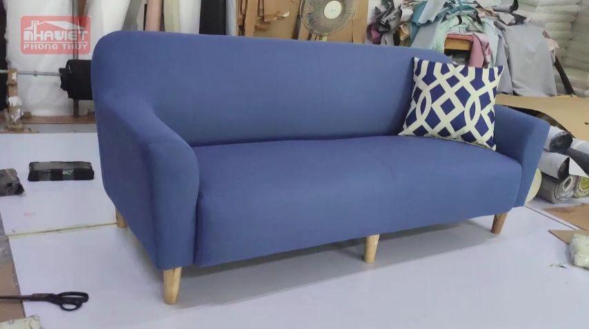 Ghế sofa văng nỉ xanh nước biển